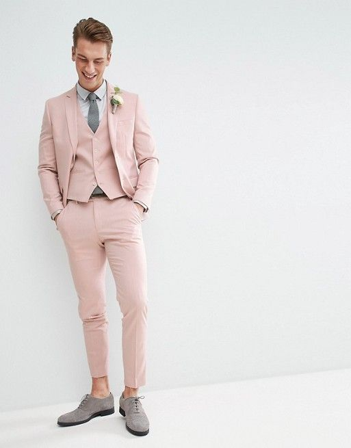 d267d03958 MOSS BROS | Moss London Wedding Skinny Suit Jacket In Light Pink ...