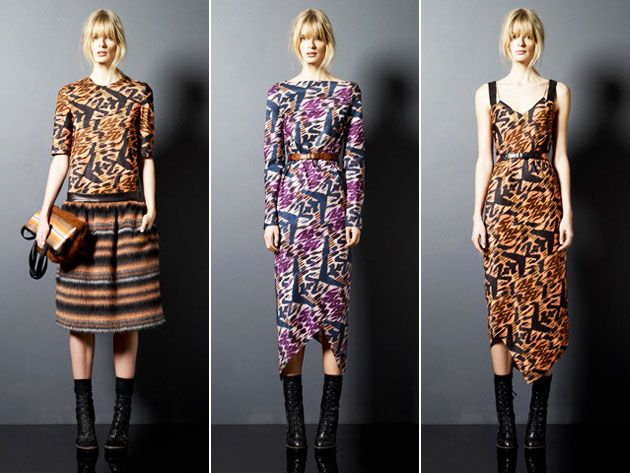 Love the dress in the middle......Proenza Schouler Pre-Fall 2011 - Ikat, Guatemalan, Tribal print knits.