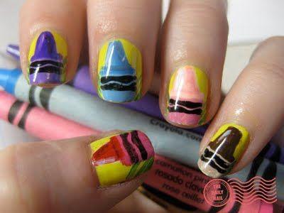 Crayon nails.
