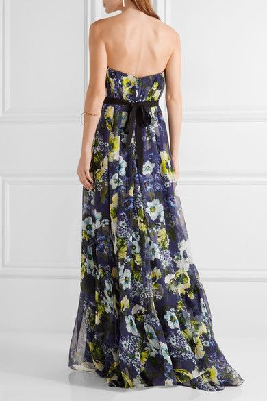 Erdem - Simona Floral-print Silk-voile Gown - Navy - UK