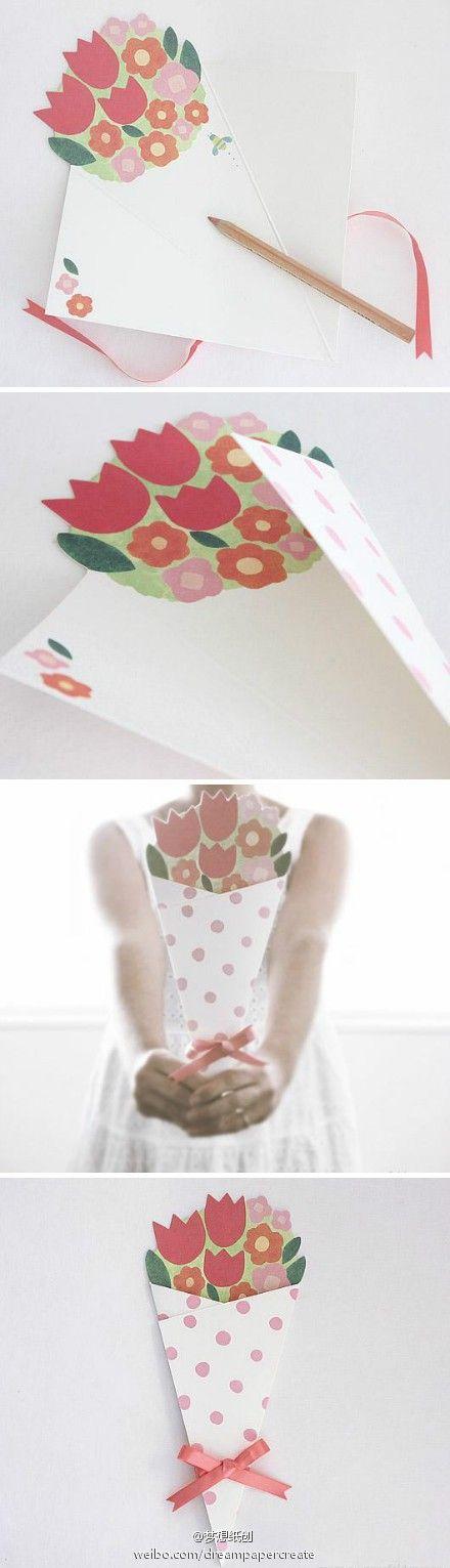 DIY ramo de papel tarjeta // Flower's Bouquet card