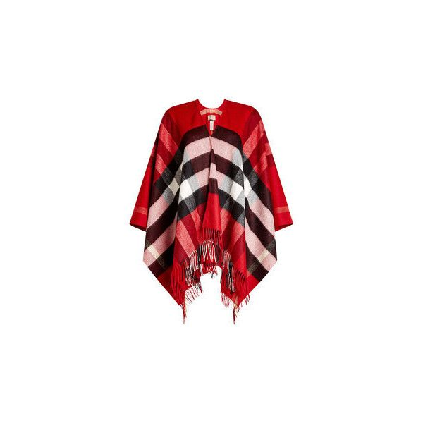 Burberry Printed Cashmere-Merino Wool Poncho ($790) ❤ liked on Polyvore featuring outerwear, red cashmere poncho, style poncho, cashmere ponchos, fringe poncho and merino wool poncho