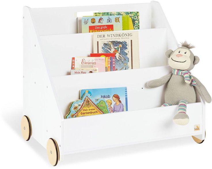 Bücherregal auf Rollen weiß 4 Coffre a jouet banc