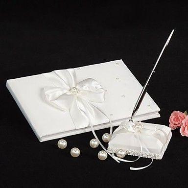 mariage en ivoire livre d'or et un stylo ensemble avec des accents de perles - EUR € 16.49