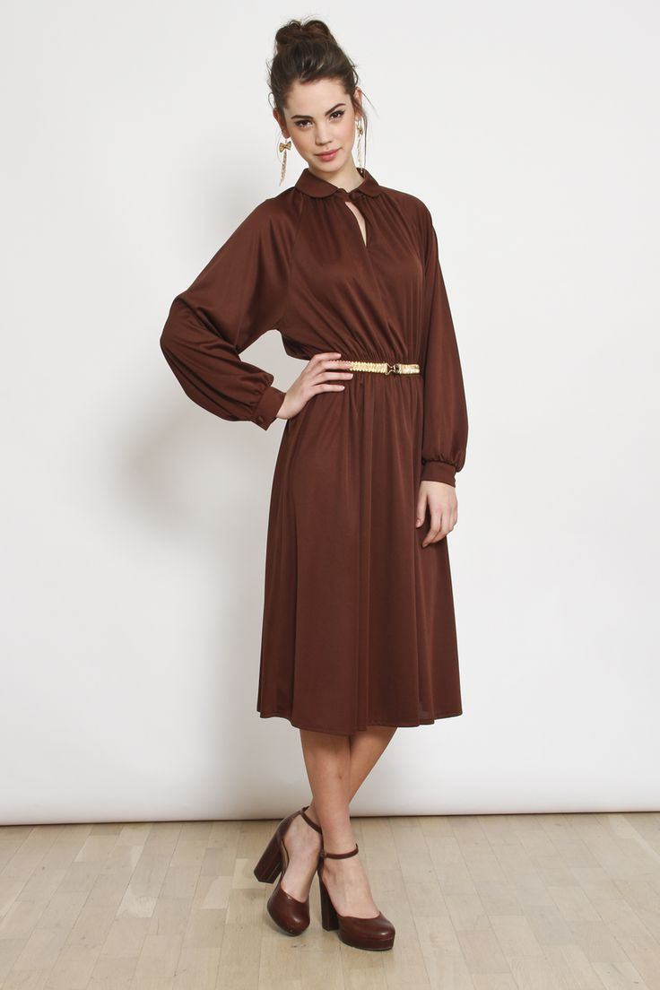 80′ler Bebe Yaka Belden Lastikli Uzun vintage Elbise | AU Vintage