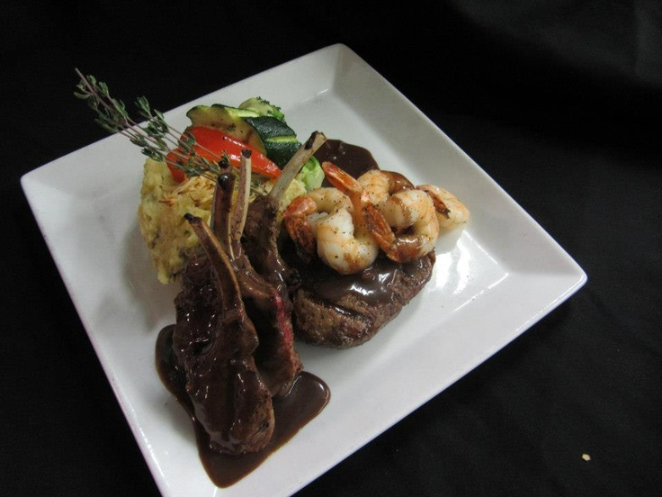 Broiled lamb chops, beef tenderloin, tiger prawns, red wine sauce   Cattlemen's Club   Visit us at 9380 Highway 97 North, Vernon BC or call us at (250) 542 - 2178.