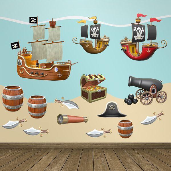 Kit adesivi Pirata - Adesivi per bambini. Adesivi murali bambini a kit. #adesivimurali #decorazione #modelli #mosaico #barca #pirata #cannone #cannocchiale #barile #StickersMurali