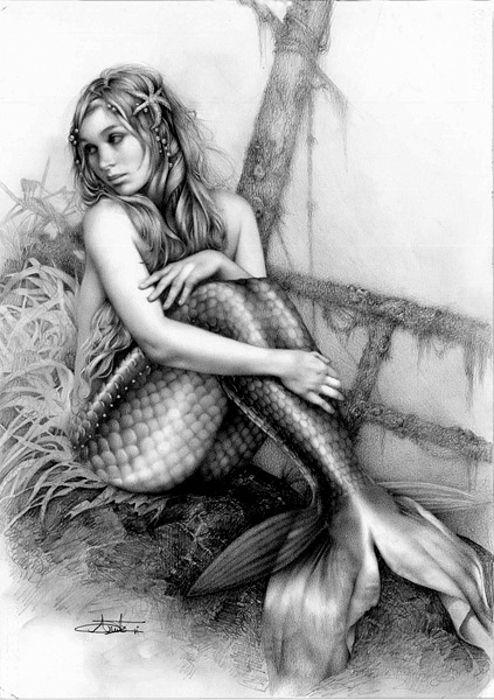 Beautiful teenager mermaid!!! Paint and draw outdoors StreetGalleryLLC.com