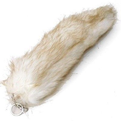 LIGHT BROWN BEIGE TAN FAUX FOX TAIL KEYCHAIN RING PURSE TASSLE BELT CLIP 12""