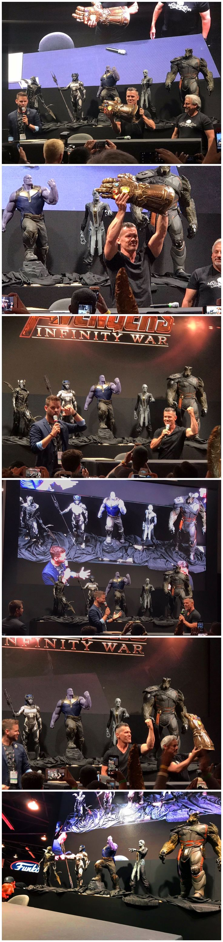 THE BLACK ORDER REVEALED FOR 'AVENGERS: INFINITY WAR'!The statues that have been covered all weekend at D23 have finally be unveiled and revealed the first look at Thanos' team of Generals - The Black Order. From the left there is Corvus Glaive, Proxima Midnight, Thanos, Ebony Maw, and Black Dwarf!
