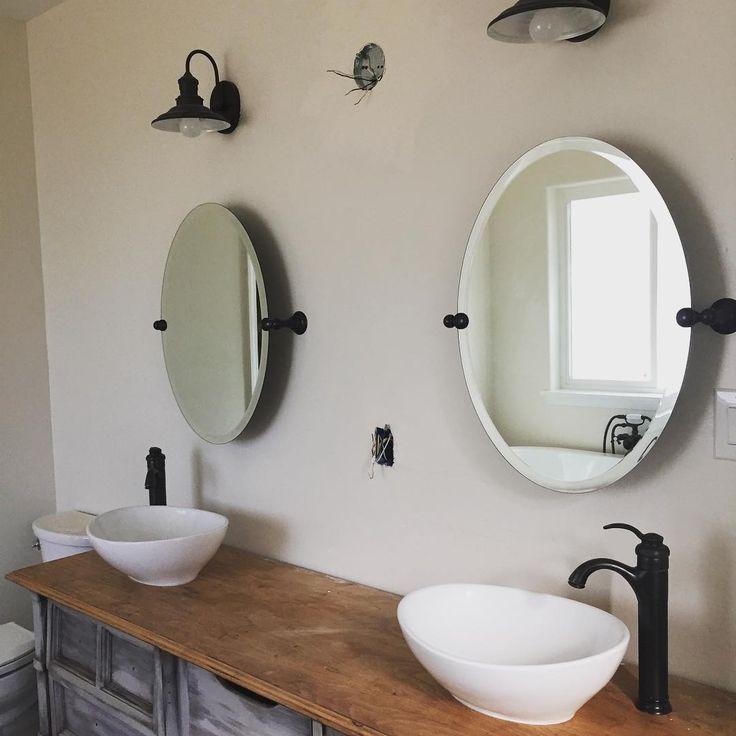 #remodel #bathroom #farmstyle #bathroomremodel #rennovation #takingwaytoolong #farmstylebathroom #vesselsinks #upcycledvanity