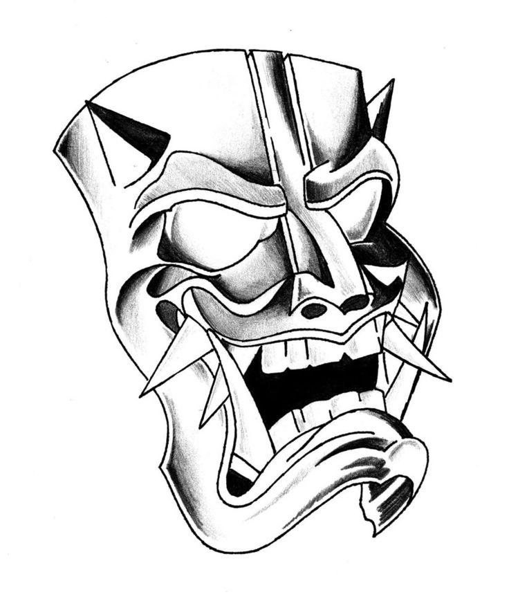 samurai mask drawing japanese drawings tattoo hanya demon japan tattoos sketchbook sketch designs pesquisa google getdrawings