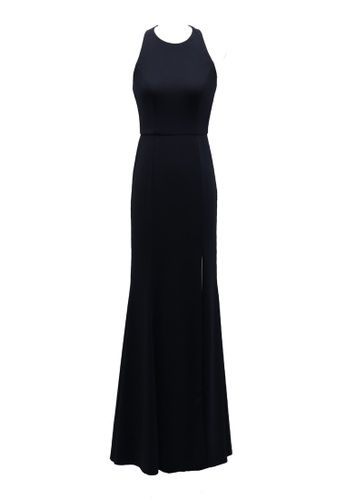 Feminine & Sexy Shoulder Crepe Evening Gown from ANNE F in navy_1