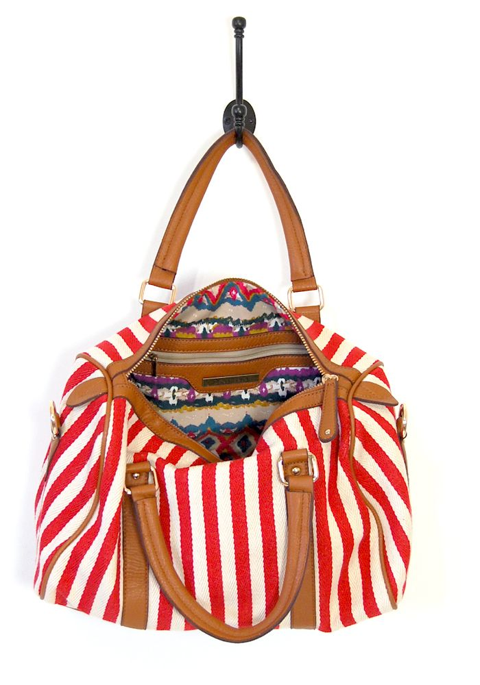 World's Fair Canvas bag chevron stripes red