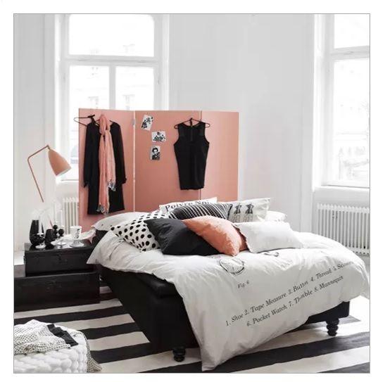 Black white and pink room separator as headboard bedroom
