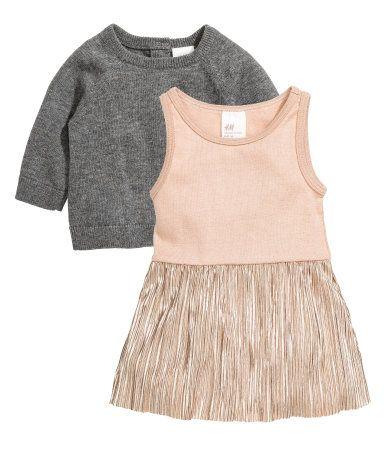Jurk en trui | Donkergrijs | Kinderen | H&M NL