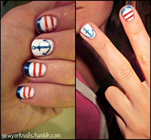 #nails: 4Th Of July Nails, Anchors Nails, Nauticalnails, Marine Nails, Summer Nails, Makeupp Nails, Katrina Nails, Cruise Nails, Nautical Nails
