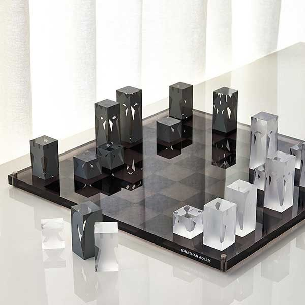 Acrylic Chess Set by Jonathan Adler - I feel that this would be the kind of chess set that some super arch nemesis bad guy would be playing in his hidden lair built in the middle of a skull shaped volcanic island. Looks freakin awesome! - www.GonnaWannaGetit.com