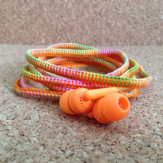 Tangle-Free Wrapped Earbud Headphones (color: sherbet)