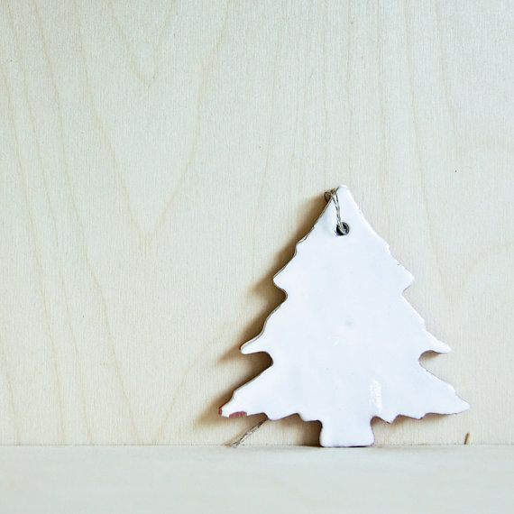 white ceramic christmas tree ornaments set. plain and by karoArt