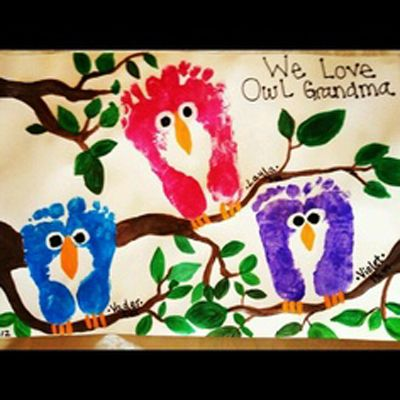 "Footprint owls...okay friends w/little ones! You need to try this for Heart Day!! ""We Love Owl Gramma!"""