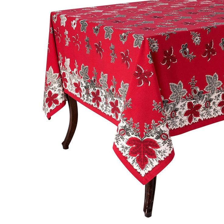 KAF Home Bontanique Holiday Tablecloth, Red