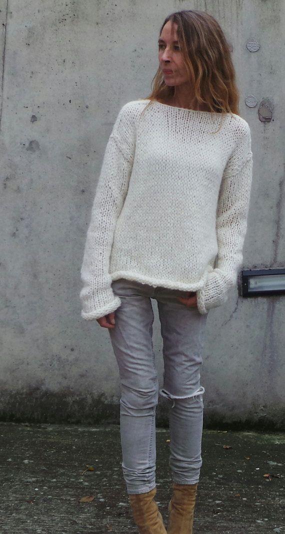 Jersey slouchy gran tamaño suéter blanco marfil suéter por ileaiye