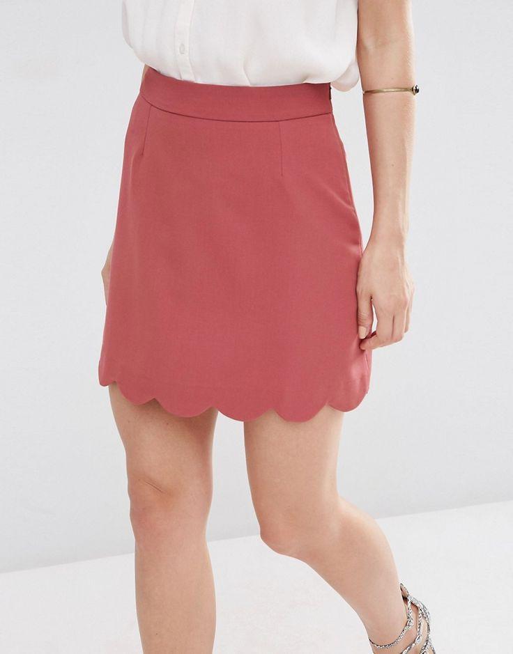 Image 3 - ASOS - Mini jupe trapèze à ourlet festonné