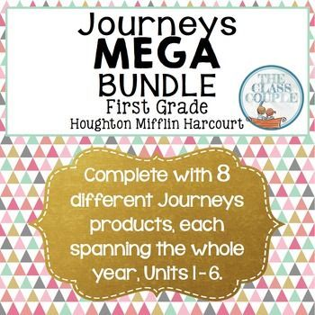 Journeys First Grade MEGA Bundle: If you teach first grade and use the Houghton Mifflin Harcourt Journeys reading series, then this MEGA Bundle is for you! It includes all of the Journeys products listed in our store: Journeys Making Words: First Grade Units 1-6 (FULL YEAR BUNDLE!), Spelling Sentences, Reading Bookmarks, Word Ladders, Challenge Spelling Bundle, Sentence Builders Bundle, High Frequency Word Parking Lot Bundle, and Spelling Lists!