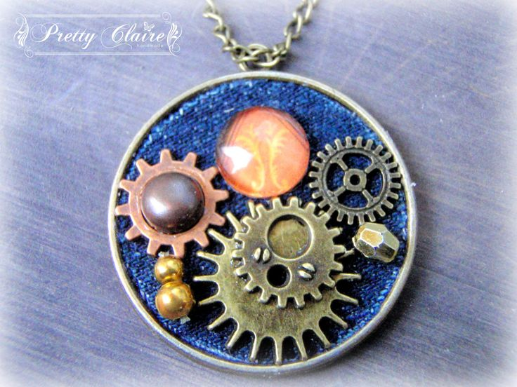 Steampunk jeans necklace, steampunk pendant, unique jewelry, handmade pendant, steampunk jewelry by PrettyClaire on Etsy
