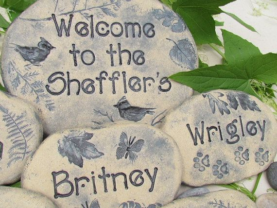 Personalized Garden stones  Unique Mother's Day gift by Poemstones, $160.00