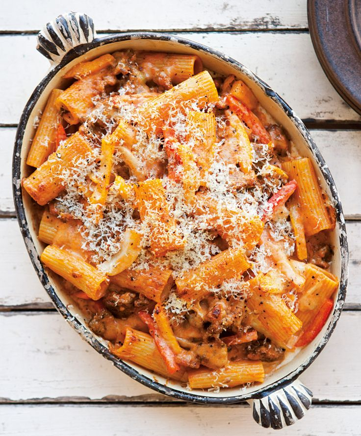 Baked Rigatoni with Fennel, Sausage & Pepperonata