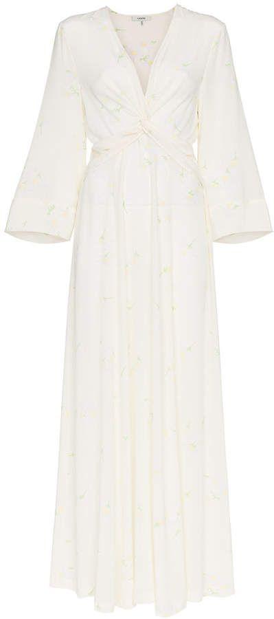 f72efbb4e8 Ganni twist detail silk maxi dress