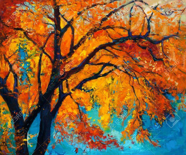 la peinture l 39 huile originale montrant bel arbre d 39 automne sur toile impressionnisme moderne. Black Bedroom Furniture Sets. Home Design Ideas