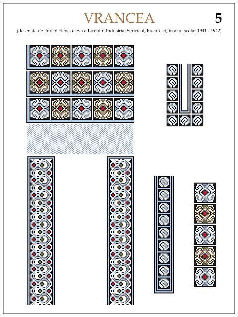 Semne Cusute: ie din VRANCEA (5) Modele de ii Romanesti din caietul elevei Furcoi Elena, de la Liceul Industrial Sericicol Bucuresti, care a desenat aceste planse in clasa a VIII-a, anul scolar 1941 - 1942