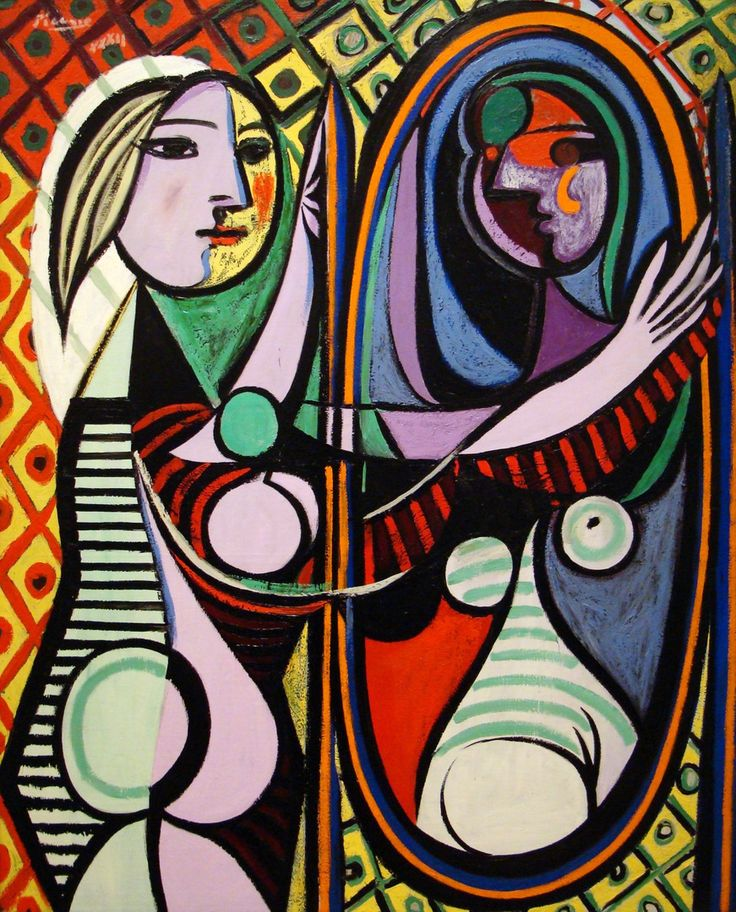 """Girl Before a Mirror"" by Pablo Picasso (1932) portrays a girl starring at herself in a mirror (Like Narcissus in the river)."
