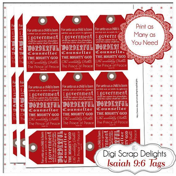 Red Christmas Gift Tags Bible Verse - Isaiah 9:6 ...