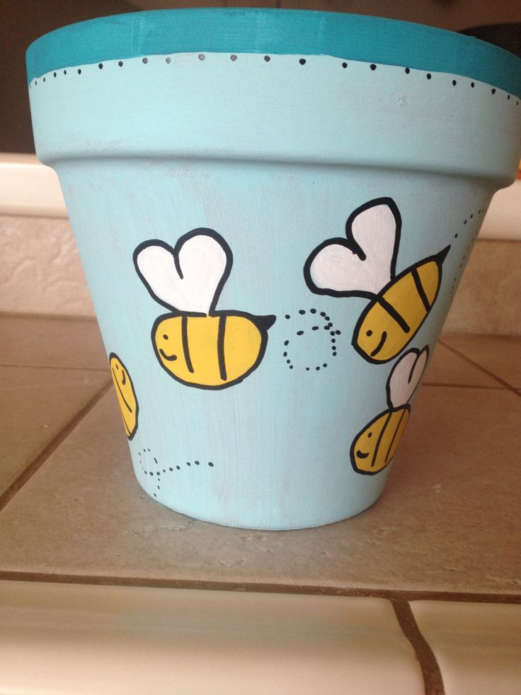 Hand painted flower pot with bees