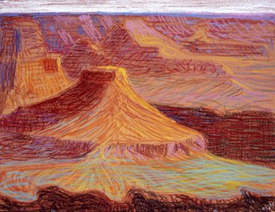 David Hockney, Study For a Closer Grand Canyon VII Cheops Pyramid, 1998, oil pastel on paper,  19 3/4 x 25 1/2 in.