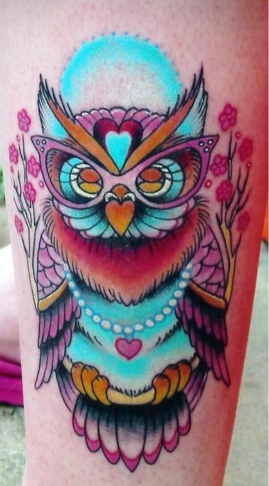 owl with glasses purple blue tattoo