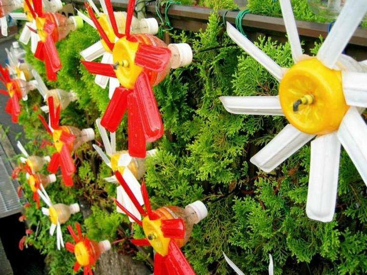 Moulin vent en plastique multicolore pour d corer le balcon et la terrasse id es de - Faire un moulin a vent ...