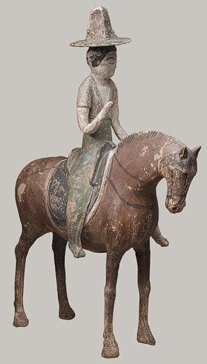 Horse with Female Rider, Tang dynasty (618–906), 7th century  Astana, Turfan, Xinjiang Uighur Autonomous Region, China  Unfired clay with pigment