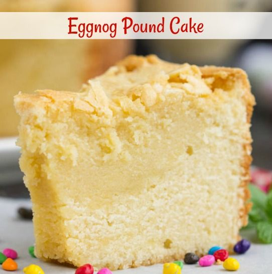 Eggnog Pound Cake A luscious pound cake this recipe for Eggnog Pound Cake celebrates the season with a crowd-pleasing ingredient. Eggnog adds a luxurious flavor and creaminess to the cake.