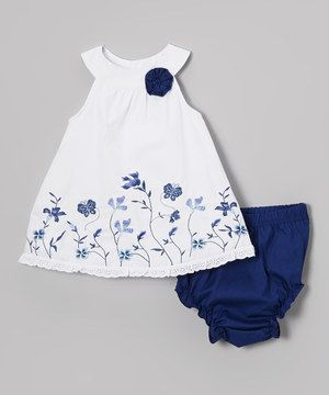 Love this Baby Essentials White & Blue Floral Yolk Dress & Diaper Cover - Infant by Baby Essentials on #zulily! #zulilyfinds
