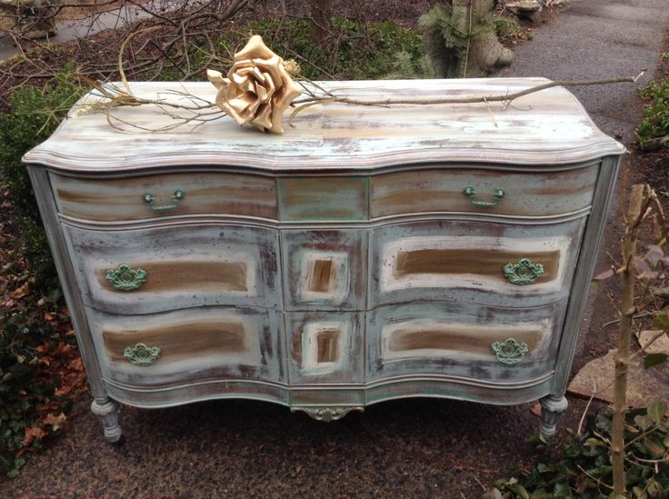 Painted Dresser - French Country Dresser - Hand Painted Dresser - Painted Sideboard - Shabby Chic Dresser - Rustic Dresser - Bohemian - Annie Sloan - milk paint - custom  paint by DareToBeVintage on Etsy