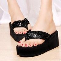 Wish | TMO Sequins Women Shoes Beach Slippers Flip Flops Sandalias Plataforma Women Wedges Women Sandals 2016 Slippers Shipping Free