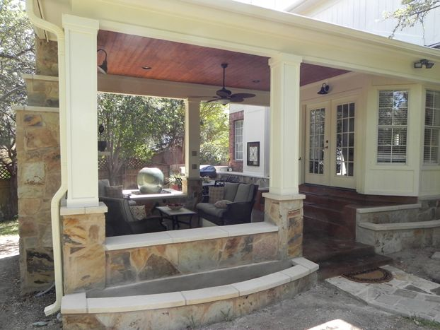 Covered Patio With Fireplace Austin Covered Patio With
