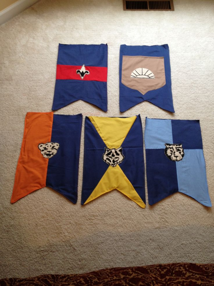 Medieval banners for the Cub Scout Blue and Gold banquet