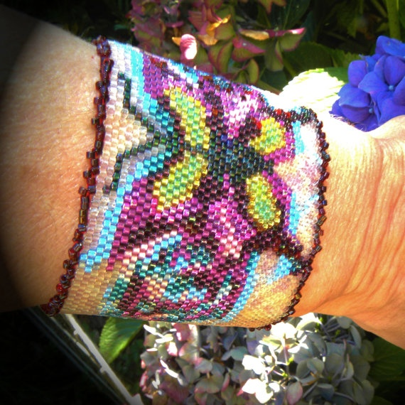 Single Stitch Peyote Tapestry Butterfly Cuff by HouseofTiswan, $135.00