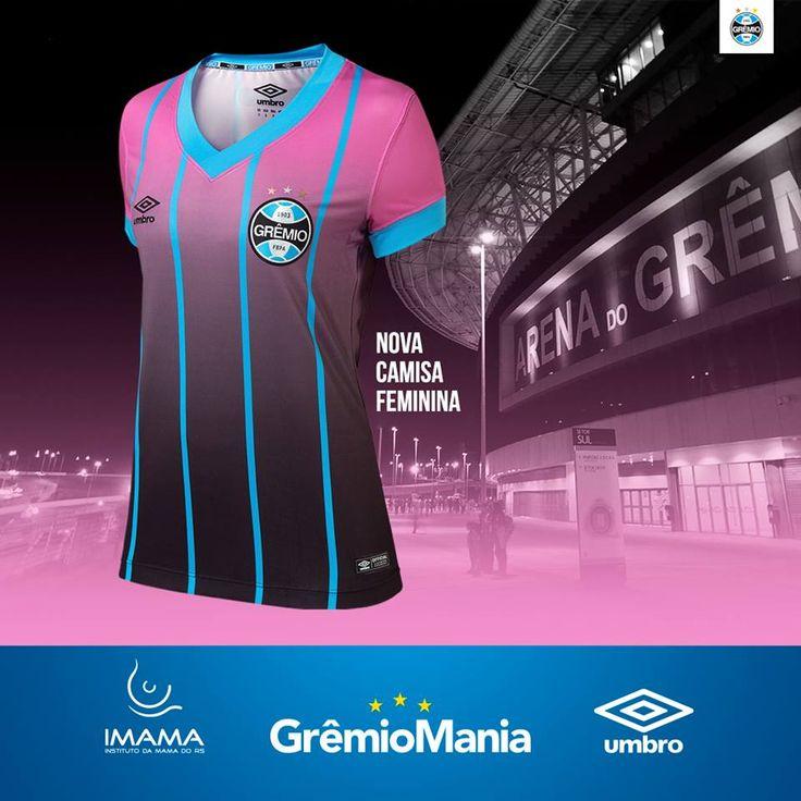 Camisa feminina do Grêmio 2016-2017 Umbro Outubro Rosa